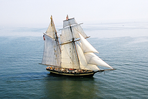 Topsail schooner Pride of Baltimore II with Max-Prop automatic feathering propeller