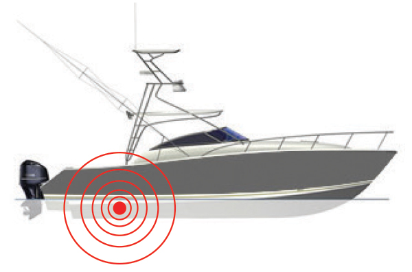 Sonihull Mono transducer positioning on power boat.